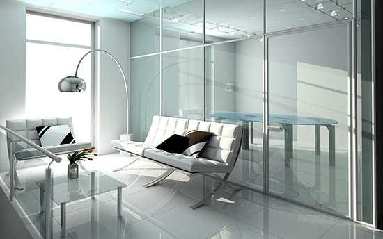 современная меблировка из биопластика и стекла
