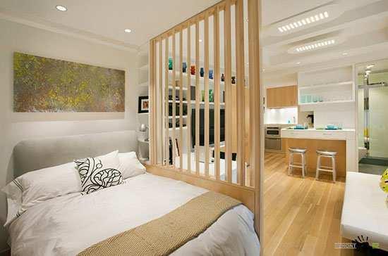 зонирование комнаты с помощью дизайна интерьера 2021